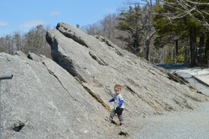 Van blowing our cover - our ascent to the top of the Blowing Rock was so easy a toddler could (but should not) do it