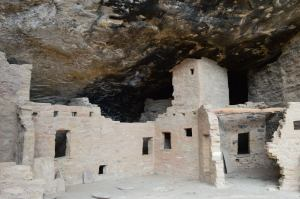 Cliff Dwellings at Mesa Verde - notice the soot on the rock above the homes