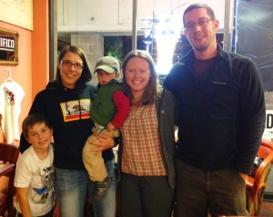 Brayden, Jess, and the three of us after filling up on some excellent Mexican food